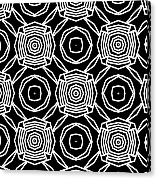 Niagra Falls Canvas Print - Black And White Modern Roses- Pattern Art By Linda Woods by Linda Woods