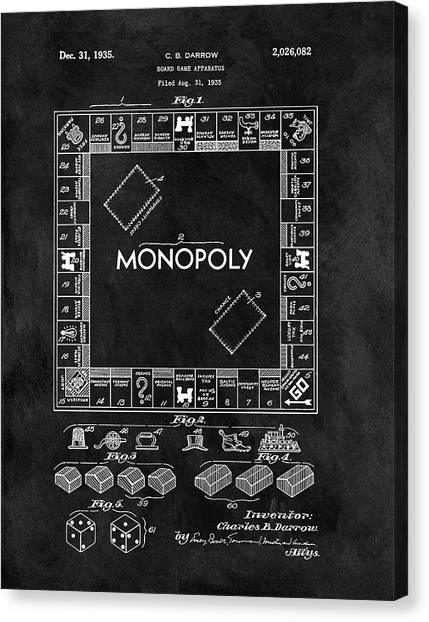 Toy Shop Canvas Print - Black And White Monopoly Game Patent by Dan Sproul