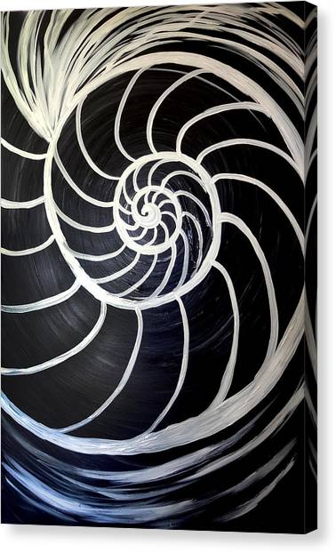Black And White Nautilus Spiral Canvas Print