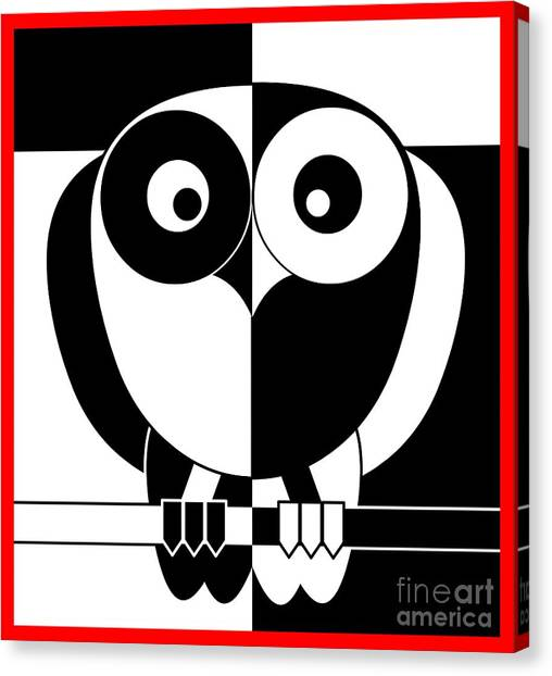 Black And White Owl Canvas Print by Santi Goma Rodriguez