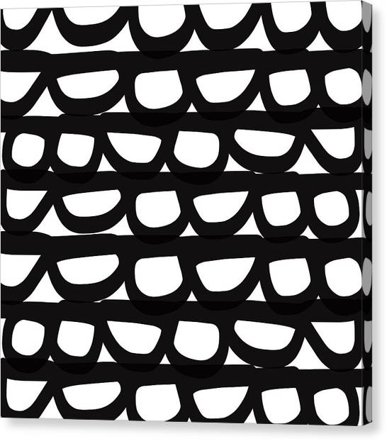 Shapes Canvas Print - Black And White Pebbles- Art By Linda Woods by Linda Woods