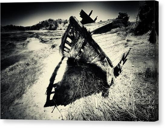 Black And White Photography Shipwreck Pinhole Canvas Print by Dapixara Art