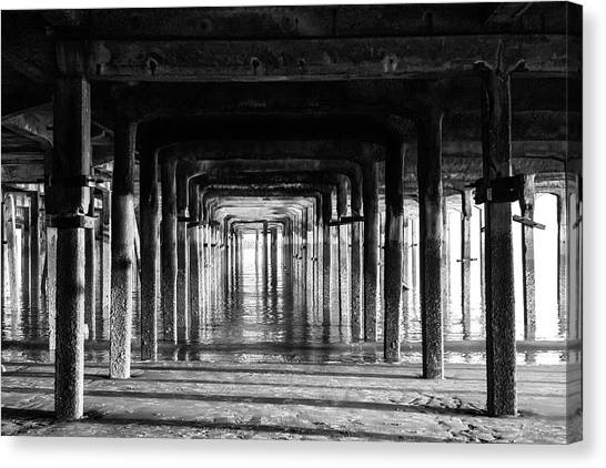 Santa Monica Pier Canvas Print - Black And White Pier by Martin Newman