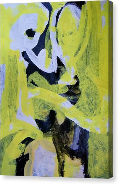 Black And White Plus Yellow Canvas Print