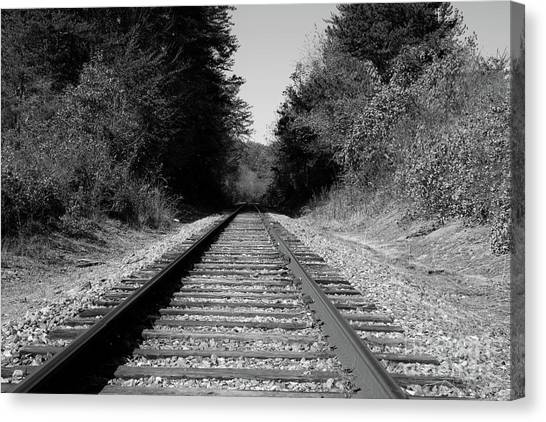 Black And White Railroad Canvas Print