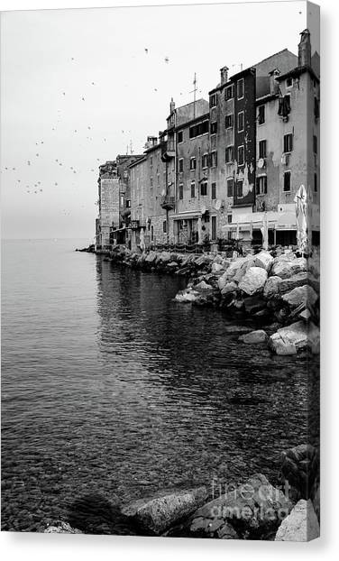 Black And White - Rovinj Venetian Buildings And Adriatic Sea, Istria, Croatia Canvas Print