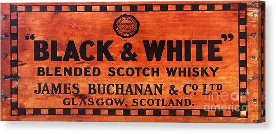 Scotch Canvas Print - Black And White Scotch Whiskey Wood Sign by Jon Neidert