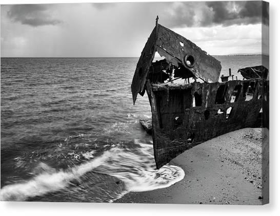 Brisbane canvas print black and white shipwrecked hmqs gayundah by rob d