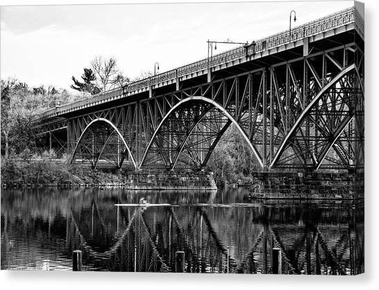 Canvas Print featuring the photograph Black And White - Strawberry Mansion Bridge - Philadelphia by Bill Cannon