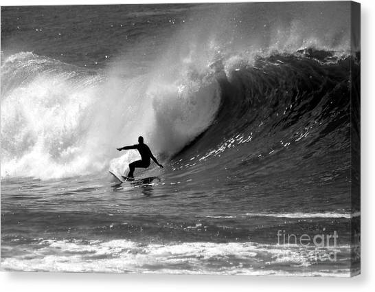 Surf Canvas Print - Black And White Surfer by Paul Topp