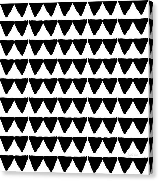 Pattern Canvas Print - Black And White Triangles- Art By Linda Woods by Linda Woods