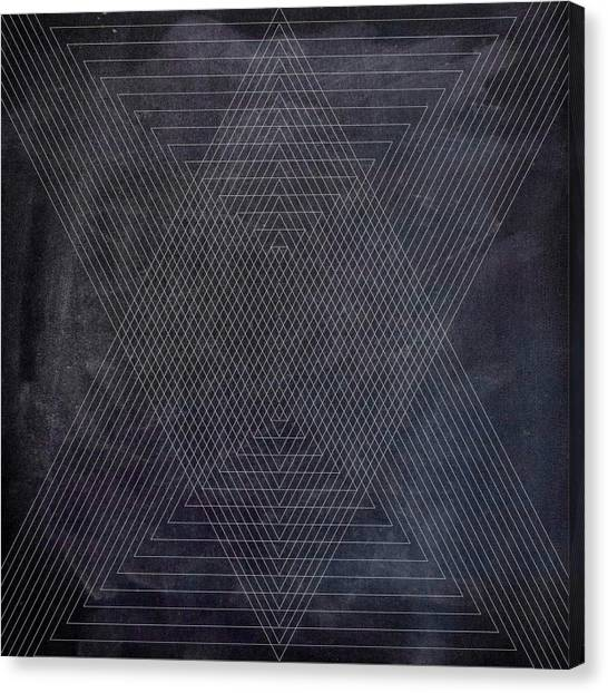 Black And White Canvas Print - Black And White Triangular Line Art by Brandi Fitzgerald