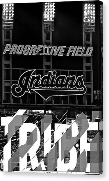 Cleveland Indians Canvas Print - Black And White Tribe Time by Frozen in Time Fine Art Photography