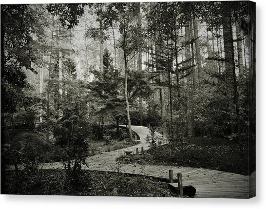 Black And White Vintage Edit -walk In Peace  Canvas Print