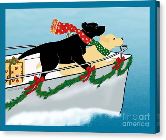 Black And Yellow Labs Boat To Christmas Canvas Print