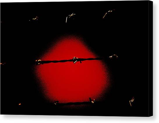 Black Barbed Wire Over Black And Blood Red Background Eerie Imprisonment Scene Canvas Print