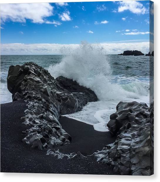 Canvas Print featuring the photograph Black Beach In Iceland by Chris Feichtner
