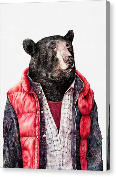 Back To The Future Canvas Print - Black Bear by Animal Crew