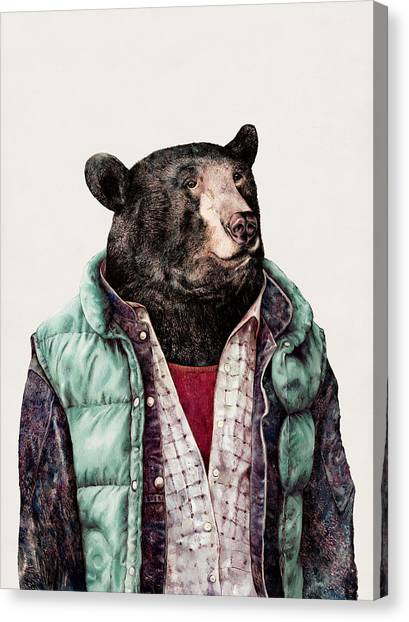 Black Bears Canvas Print - Black Bear Cyan by Animal Crew