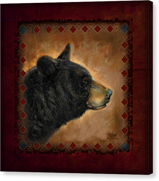 Black Bears Canvas Print - Black Bear Lodge by JQ Licensing