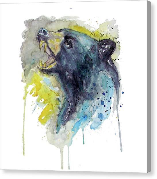 Black Bears Canvas Print - Black Bear  by Marian Voicu