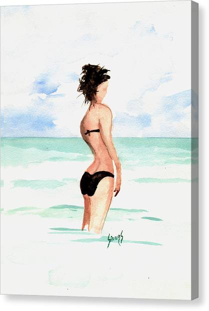 Bikini Canvas Print - Black Bikini by Sam Sidders
