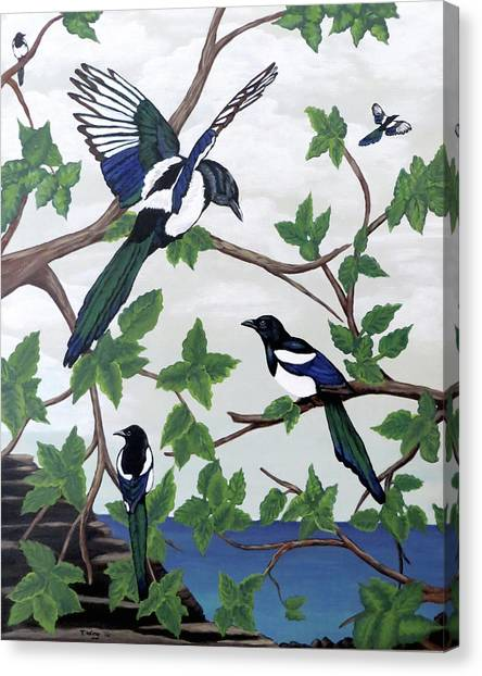 Black Billed Magpies Canvas Print