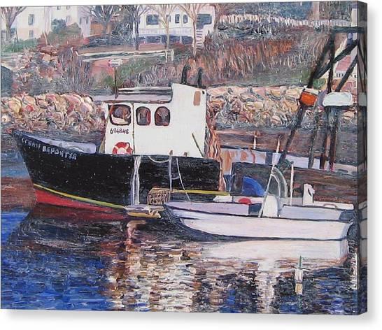 Black Boat Reflections Canvas Print by Richard Nowak