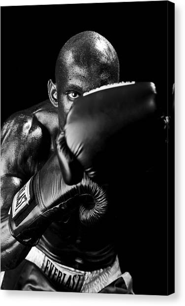 Black Boxer In Black And White 04 Canvas Print