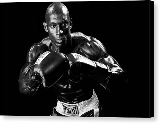 Black Boxer In Black And White 07 Canvas Print