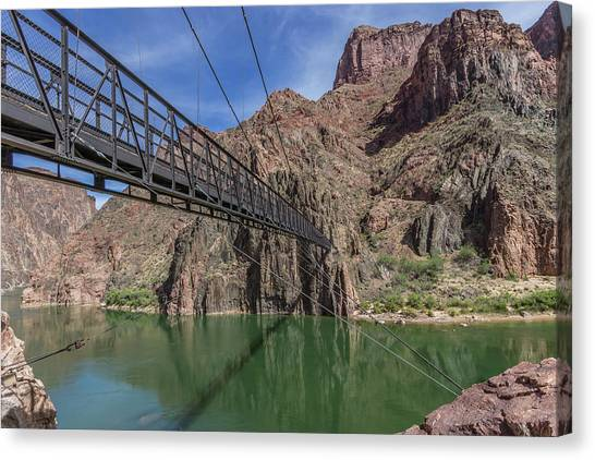 Black Bridge Over The Colorado River At Bottom Of Grand Canyon Canvas Print