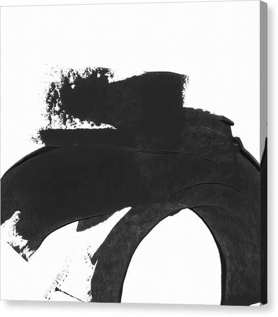 Brush Stroke Canvas Print - Black Brushstroke 4- Art By Linda Woods by Linda Woods