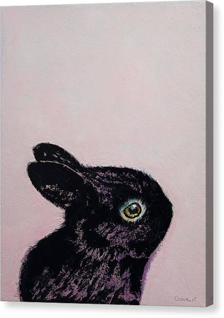 Hare Canvas Print - Black Bunny by Michael Creese