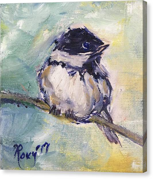 Flycatchers Canvas Print - Black Capped Chickadee by Roxy Rich