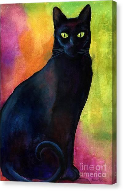 Canvas Print - Black Cat 9 Watercolor Painting by Svetlana Novikova