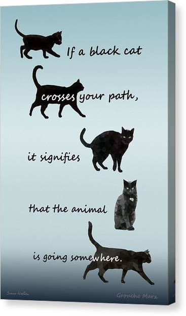Canvas Print featuring the digital art Black Cat Crossing by Ivana Westin
