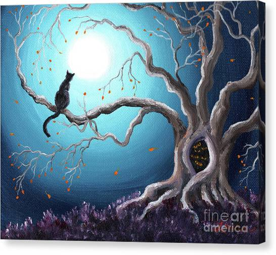 Outsider Canvas Print - Black Cat In A Haunted Tree by Laura Iverson