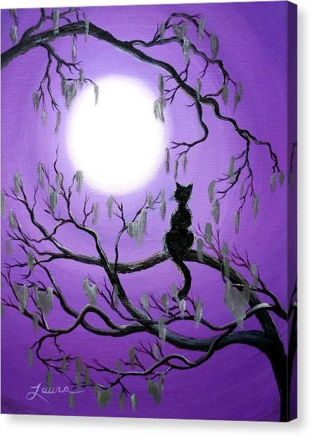 Black Cat In Mossy Tree Canvas Print