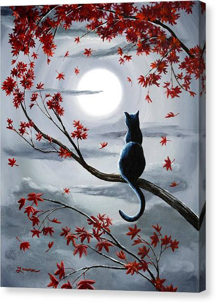 Maple Trees Canvas Print - Black Cat In Silvery Moonlight by Laura Iverson