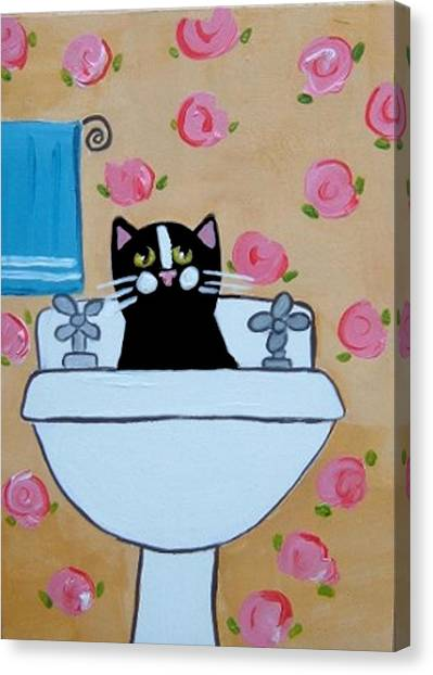 Black Cat In Sink Canvas Print by Christine Quimby