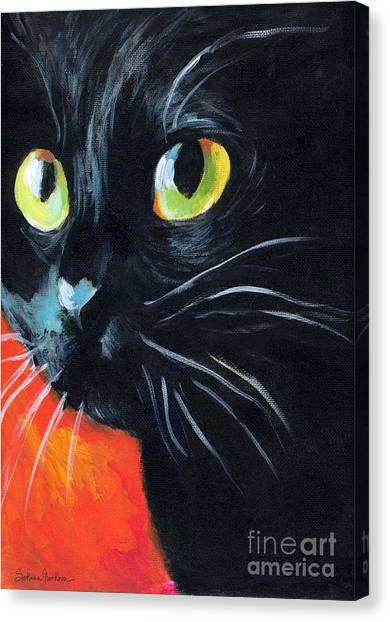 Black Cat Painting Portrait Canvas Print