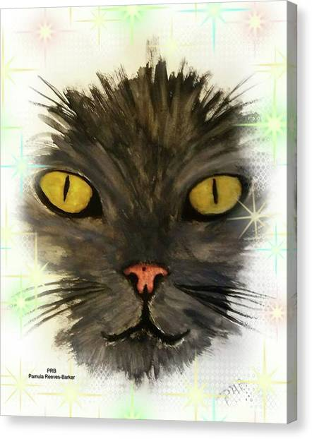 Canvas Print - Black Cat by Pamula Reeves-Barker