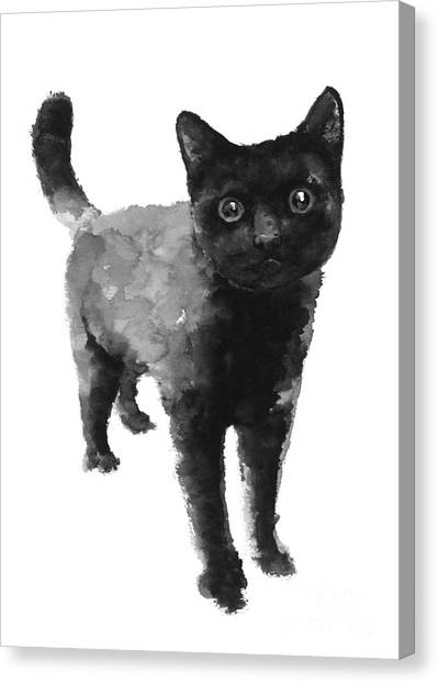 Watercolor Canvas Print - Black Cat Watercolor Painting  by Joanna Szmerdt