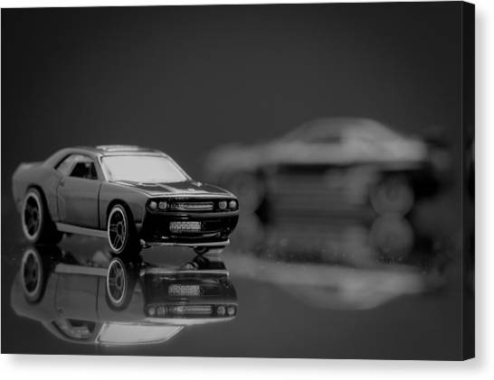 Black Dodge Challenger Canvas Print