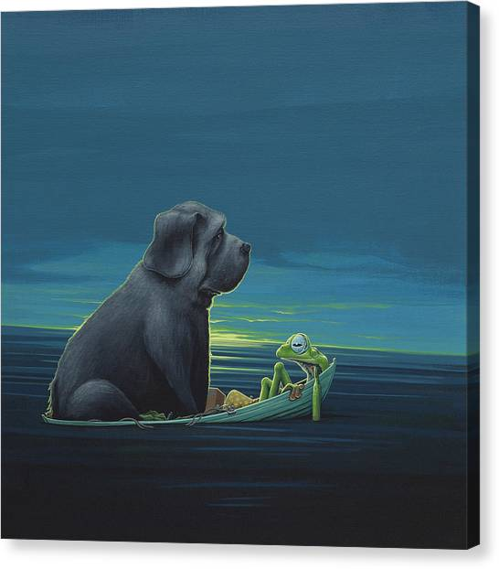 Red Eye Canvas Print - Black Dog by Jasper Oostland