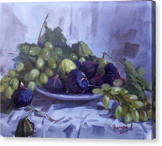 Grapes Canvas Print - Black Figs And Grape by Ylli Haruni