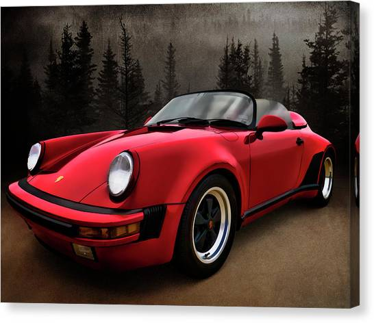 Porsche Canvas Print - Black Forest - Red Speedster by Douglas Pittman