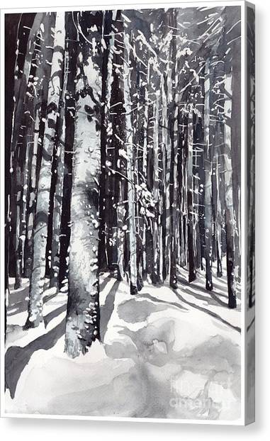 Snowflakes Canvas Print - Black Forest Watercolor by Suzann's Art
