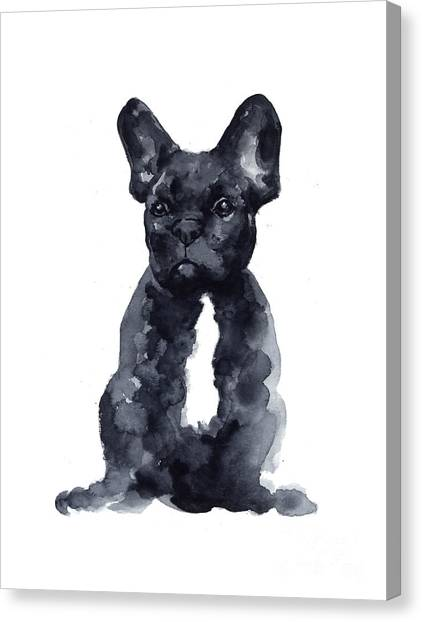Dogs Canvas Print - Black French Bulldog Watercolor Poster by Joanna Szmerdt