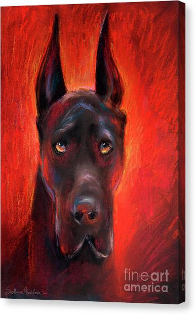 Great Danes Canvas Print - Black Great Dane Dog Painting by Svetlana Novikova